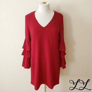 NWT Charles Henry Dress Shift Red Flare Sleeves
